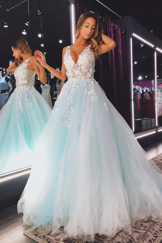 V Neck Teal Lace Floral Long Prom Dress, A Line Tulle Long Formal Evening Dresses OKW99