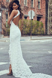 Sexy Mermaid High Neck Sleeveless Lace Backless Wedding Dress,Modest Bride Gowns OKC49