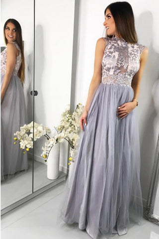 A-Line Jewel Floor-Length Tulle Prom Dress with Lace Appliques OKF63