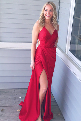 Simple Prom Dresses,Red Prom Gown,V-Neck Prom Dress,Spaghetti Straps Prom Dress,Slit Side Prom Dress