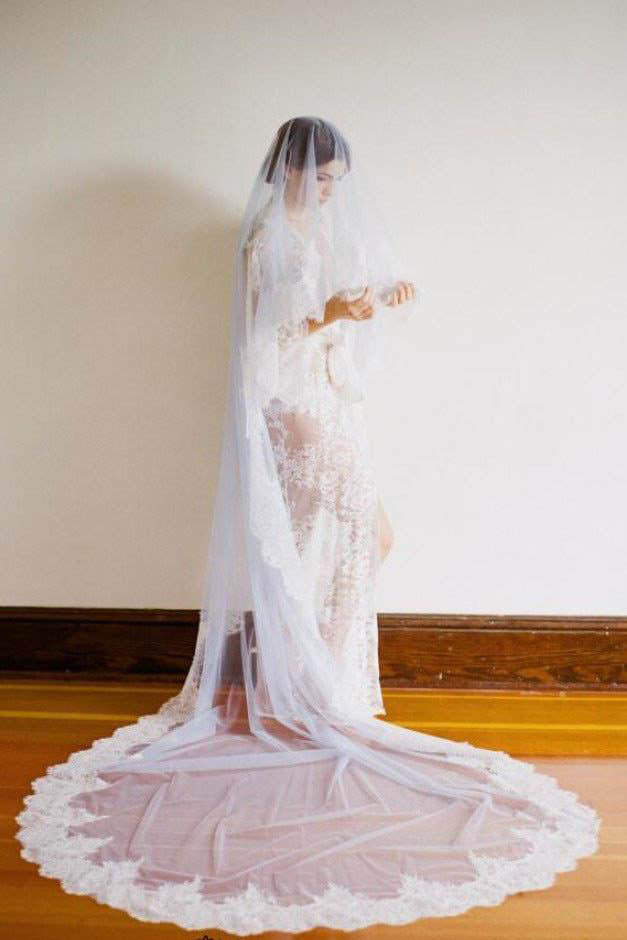 1T Tulle with Lace Wedding Bridal Veil Cathedral Length WV4