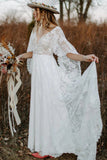 Lace V Neck Backless Boho Wedding Dresses A Line Lace Beach Bridal Gown OKV56