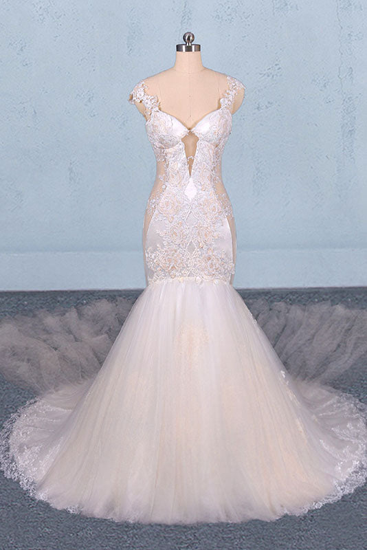Charming Mermaid Tulle Wedding Dress, Chapel Train Long Bridal Gown OKQ14
