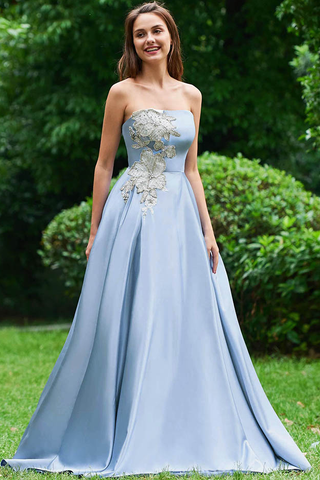 A Line Strapless Sky Blue Satin Long Prom Dresses With Appliques OKC34