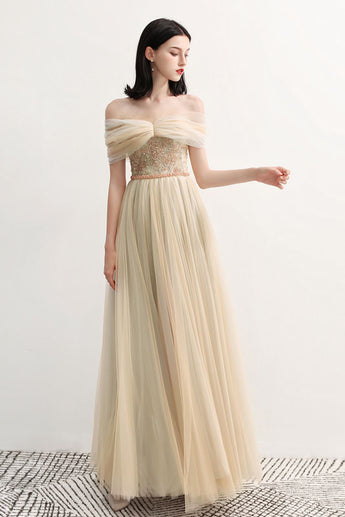 Charming Off the Shoulder A Line Tulle Long Prom Dresses With Beading OKG70