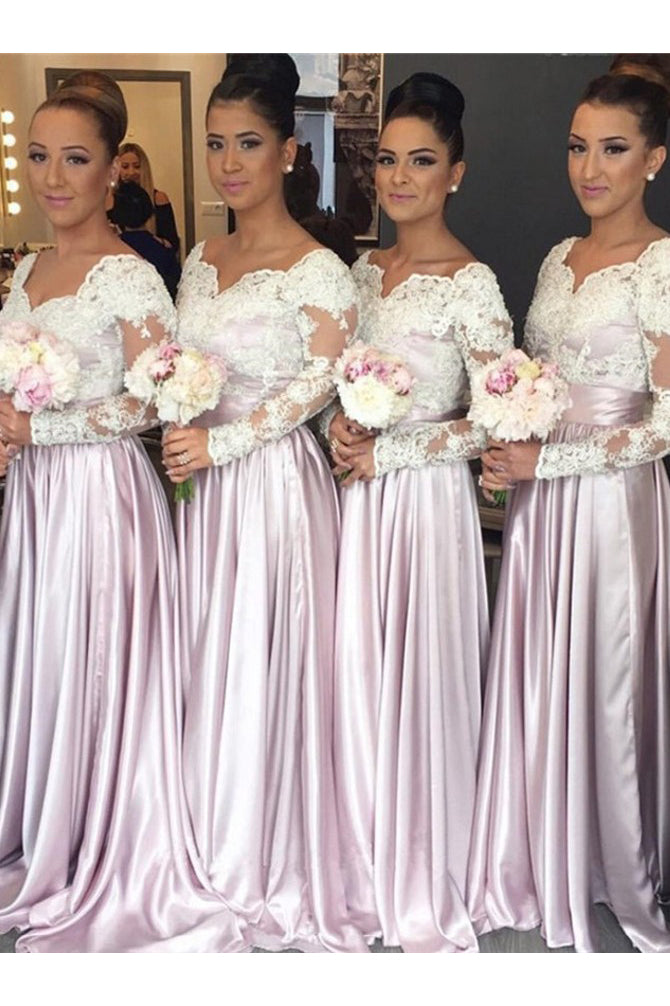 Beautiful Bridesmaid Dress,A-Line Bridesmaid Dresses,Long Sleeves Bridesmaid Dress,Pink Bridesmaid Dress,Lace Bridesmaid Dresses