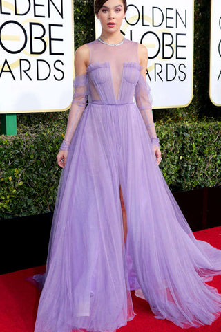 Celebrity Dresses,Lilac Prom Dresses,Tulle Prom Gown,Long Sleeves Prom Dress,See Through Prom Dress,Prom Dress With Slit