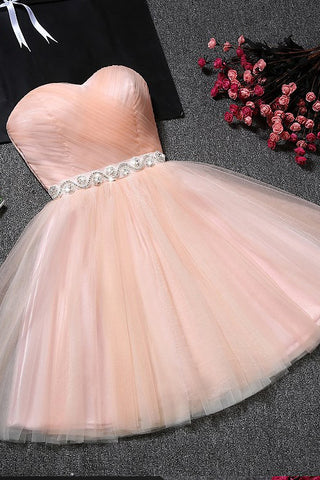 135ace5ca5b3 Sweetheart Blush Pink Tulle A Line Beading Short Homecoming Prom ...