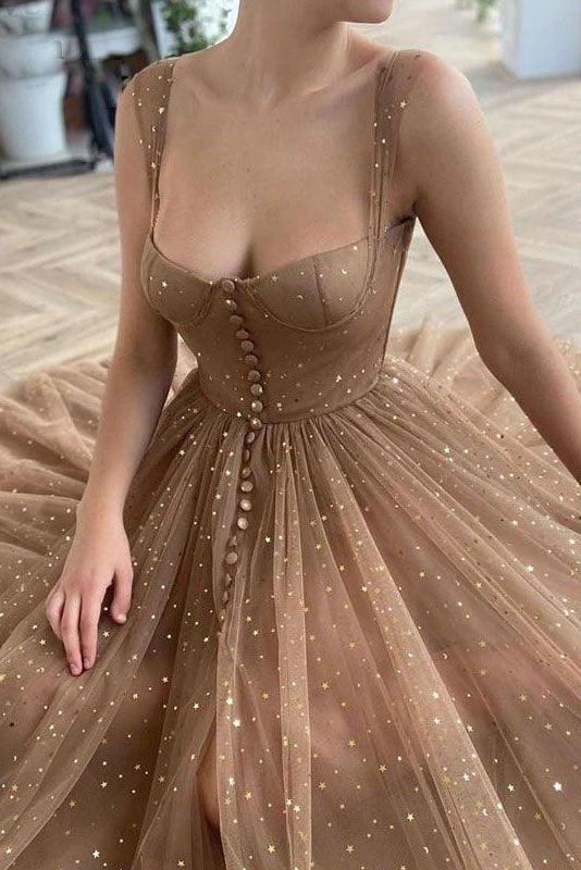 Glittering Stars Sequined Prom Dresses A-Line Ankle Length Evening Dress OKV57