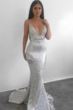 Modest Silver Mermaid Sequined Deep V Neck Backless Prom dresses,Evening Gowns OK907