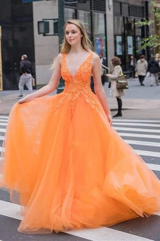 A Line Tulle Appliques Orange V Neck Prom Dress, Long Evening Dress, Dance Dresses OKU31