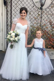 Light Ivory Lace Tulle Long Sleeveless Flower Girl Dress With Dark Grey Sash/Bows OK212