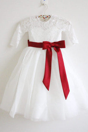 Long Sleeves Ivory Wine Red Sash Bows Lace Tulle Flower Girl Dress OK211