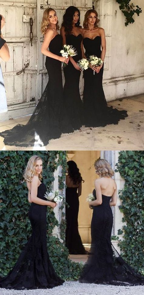 Mermaid Style Sweetheart Sweep Train Black Long Bridesmaid Dress with Lace OK449
