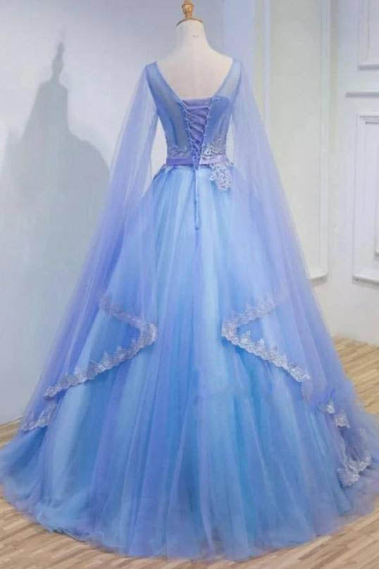 Medieval Long Sleeve Blue Appliques Ball Gown Prom Dress, Quinceanera Dresses OKU98