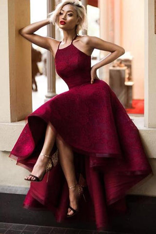 Burgundy Prom Dresses,Asymmetrical Prom Gown,High Low Prom Dress,Lace Prom Dress