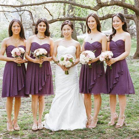 Simple Sweetheart Chiffon Purple Short Pleats Bridesmaid Dress OKG66