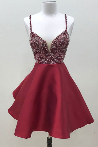 Spaghetti Straps Dark Red Short Prom Dress Homecoming Dress OKO59