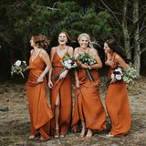 Charming Chiffon V-neck Spaghetti Straps Orange Split Long Bridesmaid Dress OKG58