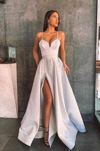 Simple A Line Spaghetti Straps Gray Long Prom Dress With Split Front OKW89