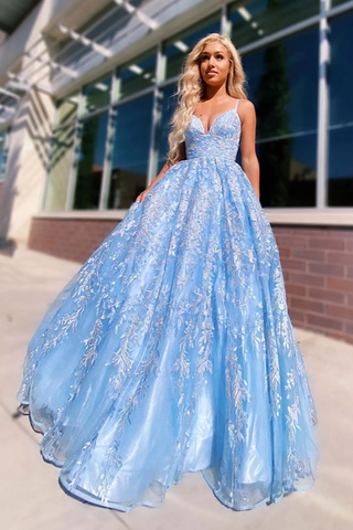 Charming V Neck Lace Sky Blue A Line Spaghetti Straps Prom Dress with Appliques OKW88