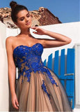 Modest Tulle Strapless A-line Long Prom Dresses With Lace Appliques OK916