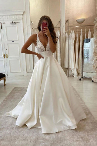 White Deep V Neck Satin Lace Top Long Prom Dress Wedding Dress OKU41