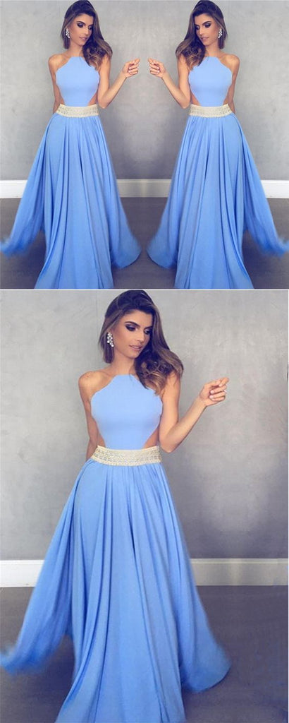 Unique Blue Chiffon Long A Line Beaded Prom Dresses OK832