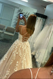 Simple Spaghetti Straps A-Line Lace Appliques Tulle Long Prom Dress OKW97