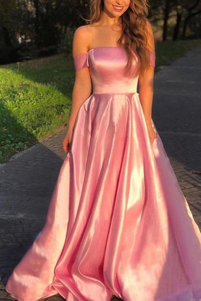 Simple Blushing Pink Off Shoulder A-Line Satin Long Prom Dress OKW90