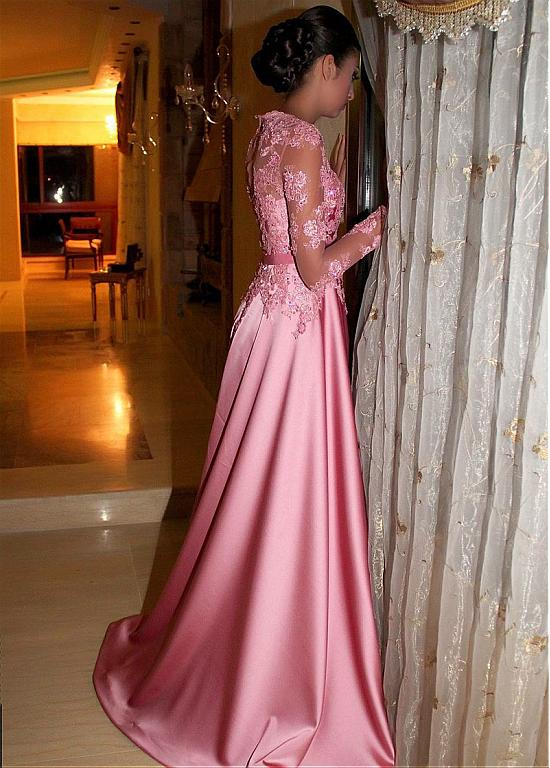 Gorgeous Satin Jewel A-Line Long Sleeves Pink Prom Dresses With Lace Appliques OK914