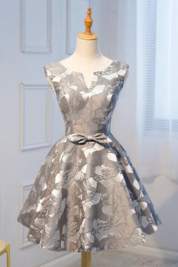 Unique A Line Grey Cheap Short Homecoming Dresses With Bow-not OKD21