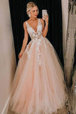 Pink Tulle V Neck Long Senior Prom Dress, Formal Dress With Applique OKQ84