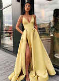 Charming A Line Spaghetti Straps Yellow Prom Dresses with Split Front OKQ86