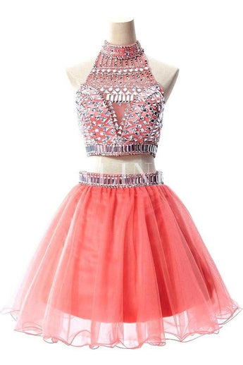 Watermelon Two Pieces Backless Short Prom Homecoming Dresses 556