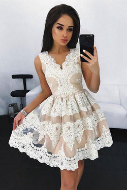 Off White Lace Short Prom Dress, Cute A Line Homecoming Dresses OKD97
