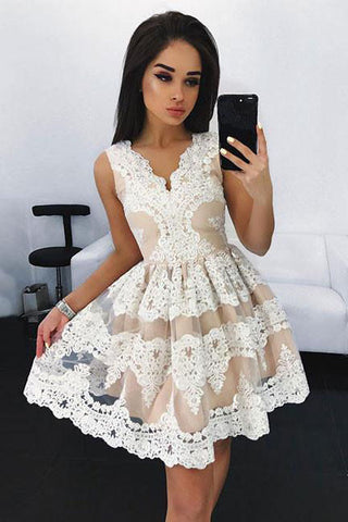 687fdc77230a Off White Lace Short Prom Dress, Cute A Line Homecoming Dresses OKD97