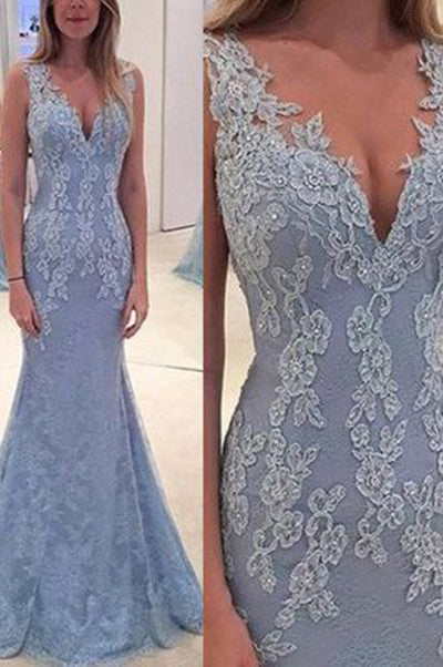 Elegant Lace Blue Long Mermaid Prom Dress, Charming Evening Party Gown OK138