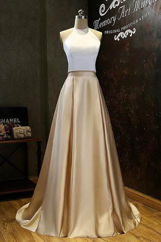 Simple Prom Dresses,Two-Piece Prom Dress,Gold Prom Dresses,Halter Prom Dress,Long Evening Dress,White Top Prom Dresses