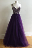 Purple A-Line Ball Gown Spaghetti Straps Tulle Long Prom Dress with Beading OK155