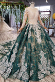 Green Long Sleeves Ball Gown Lace Prom Dress with Appliques, Long Prom Gown OKP51