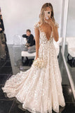 Stylish V Neck Tulle Lace Cap Sleeves Applique Long Wedding Dresses OKU40