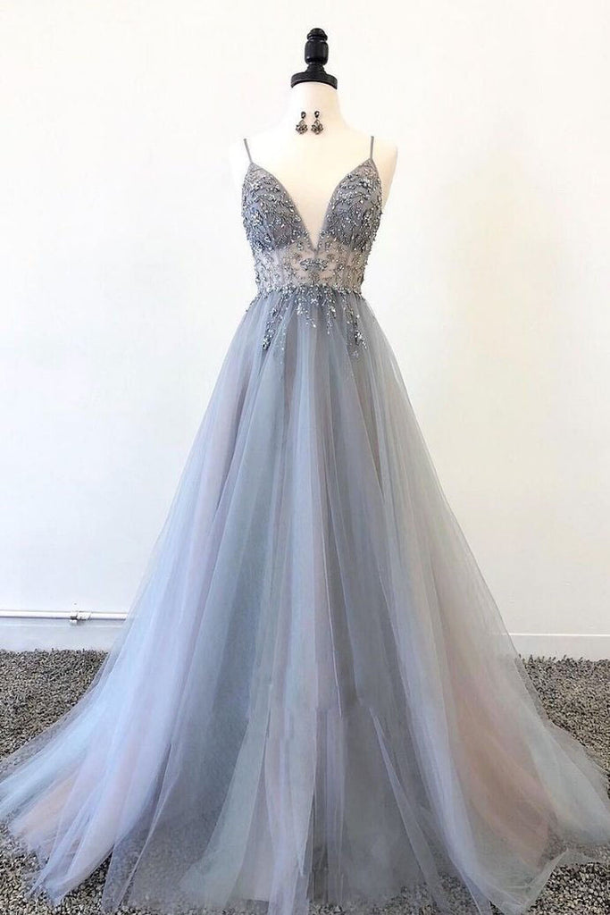Gray Spaghetti Straps Beaded Tulle A Line Prom Dresses Evening Party Dress OKS52