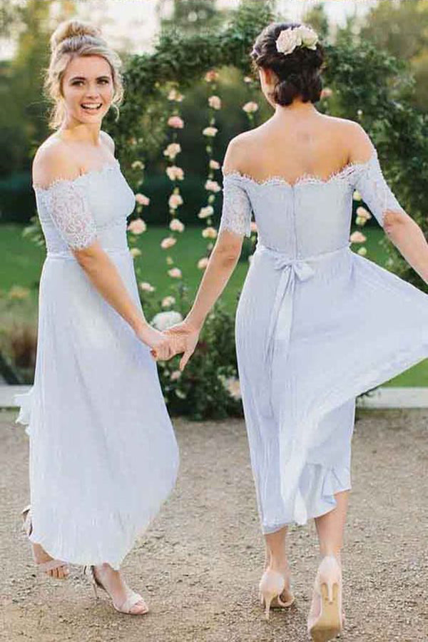 A-Line Off-the-Shoulder Short Sleeve Pleated Chiffon Bridesmaid Dress with Lace OKI45