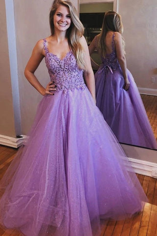 Purple A Line Tulle Appliques Lace Up Back Prom Dresses Formal Evening Dress OKT76