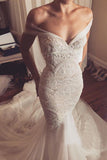Stunning Lace Mermaid Off-The-Shoulder Tulle Wedding Dress OKU85