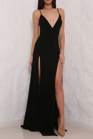 Sexy High Slit Black Open Back Prom Dresses Long Black Evening Gown