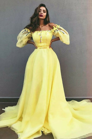 Charming A-Line Off-the-Shoulder Yellow Tulle Prom Dress with Appliques OKE30