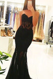 Black Sweetheart Mermaid Sexy Lace Prom Dress,Long Black Evening Dresses OK174