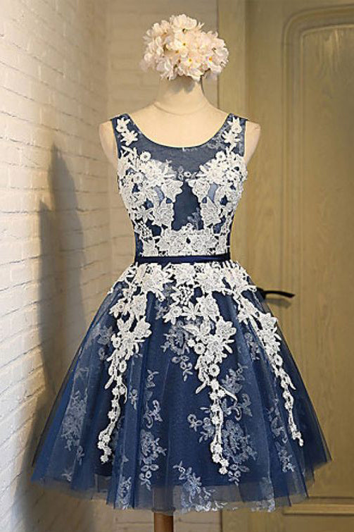 Scoop Homecoming Dress,Navy Blue Homecoming Dress,Short Prom Dresses,A line Homecoming Dress,Graduation Dress,Lace Up Back Homecoming Dresses,Appliques Homecoming Dresses